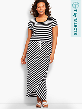 Tulip-Wrap Maxi Dress-Stripes