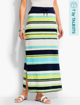 Straight Drawstring Maxi Skirt-Multi-Stripes