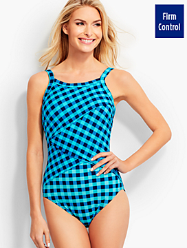 Wrap-Front Beachy Gingham Miraclesuit®