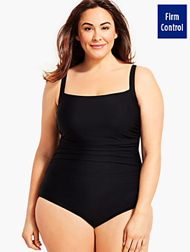 Plus Size Exclusive Solid Cabana One-Piece