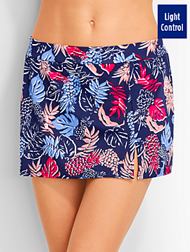 Pineapples & Tropical Leaves Skirted Swim Bottom - Miraclesuit®