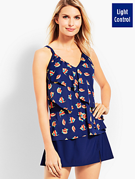 Tiered Tankini Top - Ocean Fish Print