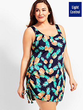 Womans Exclusive Pineapple Party Side Ruched Swim Dress
