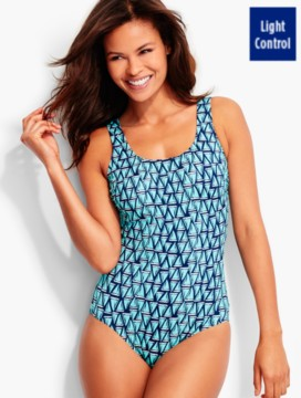Fuss-Free Yacht-Print One-Piece - Miraclesuit(R)