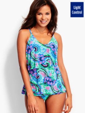 Chloe Tiered Tankini Top-Botanical Scrolls-Miraclesuit®