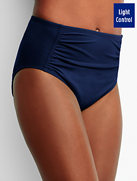 High-Waist Shirred Swim Bottoms-Miraclesuit®