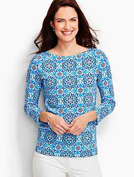 Three-Quarter-Sleeve Bateau Neck Tee-Mosaic Tiles-The Talbots Tee
