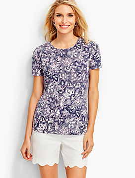Short-Sleeve Crewneck Tee-Dotted Bandana Paisley-The Talbots Tee
