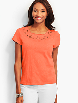Embroidered-Eyelet Tee