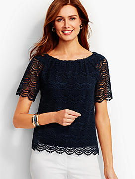 "Lace ""Off-The-Shoulder"" Tee"