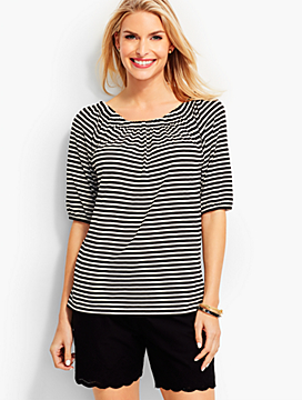"Lucia Stripes ""Off-The-Shoulder"" Tee"
