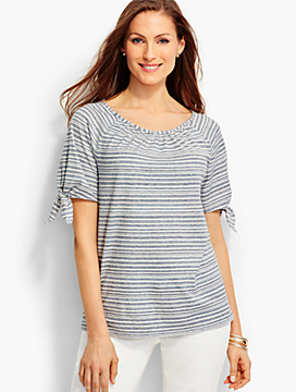 Tie-Sleeve Cotton Tee-Stripes