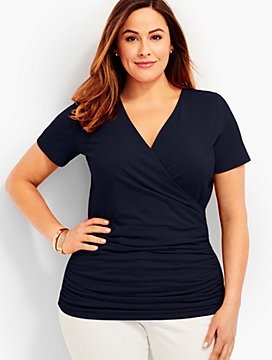 Ruched-Sides Surplice-Wrap Top