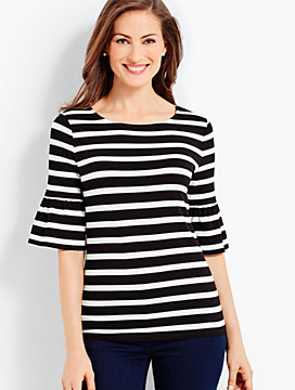 Flounce-Sleeve Tee - Jefferson Stripes