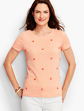 Short-Sleeve Crewneck-Ombre Sequin Dots-The Talbots Tee