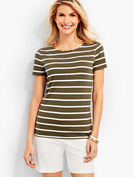 Pima Cotton Scalloped Tee-St. Martin Stripes