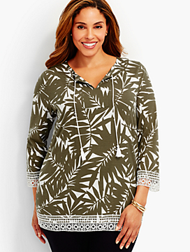 Lace-Trimmed Forest Fern Tunic