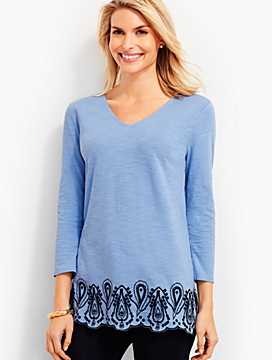 Double-V Embroidered-Paisley Tunic