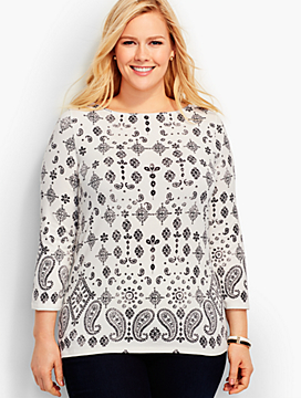 Three-Quarter-Sleeve Bateau Neck-Bandana Paisley-The Talbots Tee