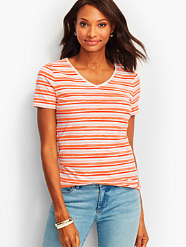 Short-Sleeve V-Neck Tee-Water Stripes-The Talbots Tee