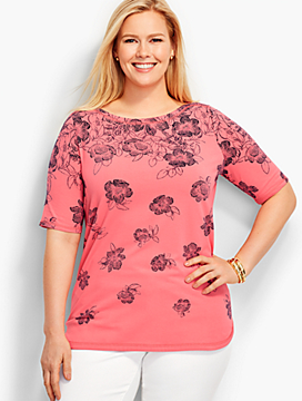 Weekend Ribbed Envelope-Bateau Tee-Etched Flowers