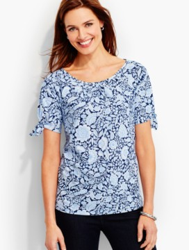 Tie-Sleeve Cotton Tee-Herbal Flowers