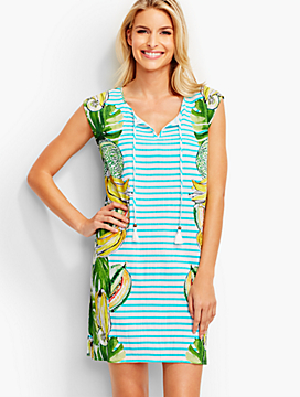 Tropical Fruit & Stripes Cover-Up