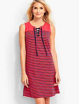 Breton Stripes Tie-Front Cover-Up