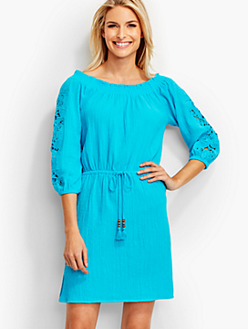"Eyelet-Trimmed ""Off-The-Shoulder"" Cover-Up"