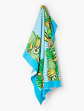 Cotton Beach Towel-Tropical Fruit & Stripes