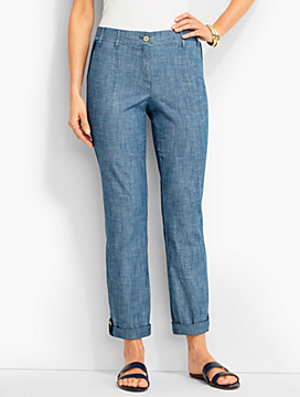 Chambray Button-Tab Roll-Cuff Pant