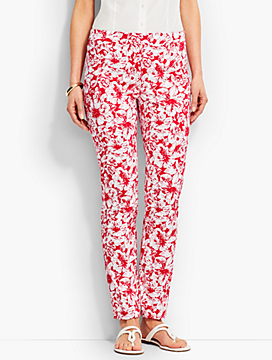 Talbots Chatham Ankle Pant - Rose Print
