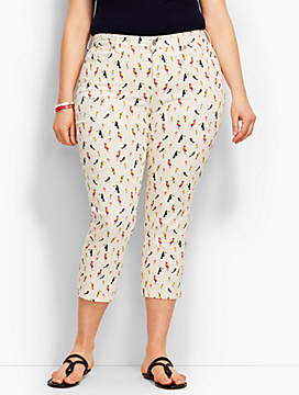 The Flawless Five-Pocket Crop-Parrot Print