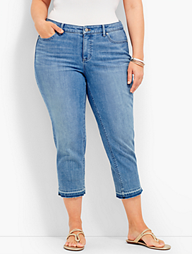 The Flawless Five-Pocket Frayed-Hem Crop-Surf Wash
