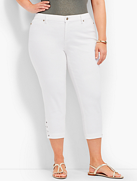 Flawless Five-Pocket Lace-Up Crop - White