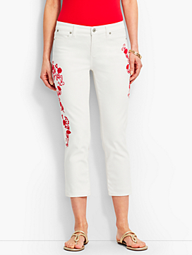 Flower-Embroidered Flawless Five-Pocket Crop