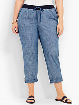 Woman Chambray Button-Tab Roll Cuff Pant