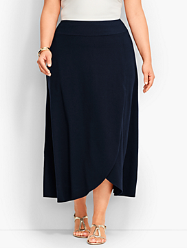 Faux-Wrap Jersey Maxi Skirt