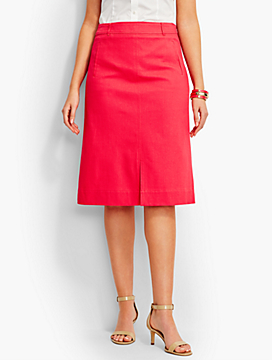 Cotton Pique Front Slit A-Line Skirt - Fashion Colors