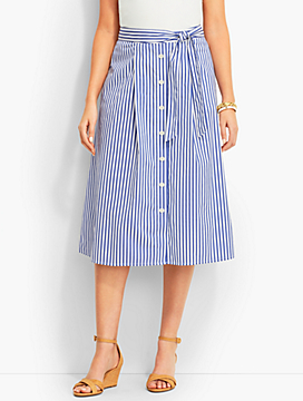 Button-Front Skirt-Cabana-Stripe