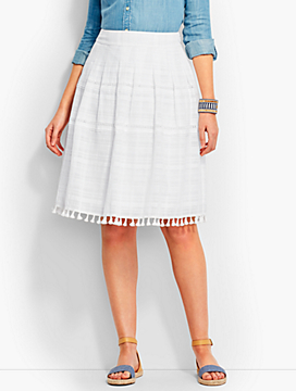 Tassel-Trimmed Pleated Skirt