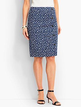Faux Wrap Double-Button Polka Dot Pencil Skirt