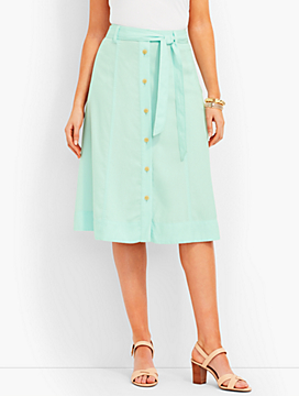TENCEL(R) Button-Front Skirt-Opal Green