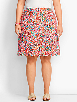 "19"" Paisley Potpourri Scallop Hem Canvas Skirt"