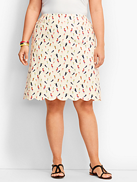 Parrot Printed Scallop Hem Canvas Skirt