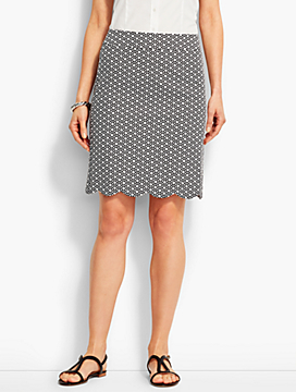 Geo-Knot Scalloped-Hem Canvas Skirt