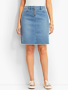 Frayed-Hem Denim Skirt-Shoal Wash