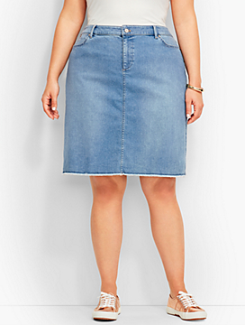 Womans Frayed-Hem Denim Skirt-Shoal Wash