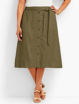 Woman Exclusive TENCEL(R) Button-Front Skirt