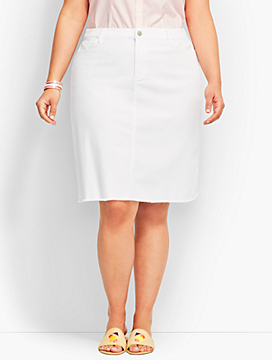 Womans Frayed-Hem Denim Skirt-White